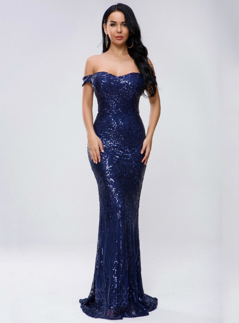 In Stock:Ship in 48 Hours Navy Blue Mermaid Sequins Off the Shoulder Party Dress