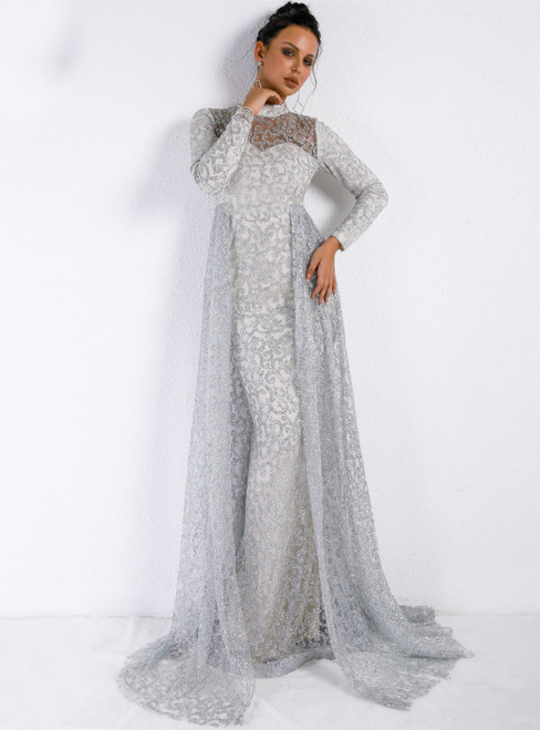 In Stock:Ship in 48 Hours Silver High Neck Long Sleeve Sequins Party Dress