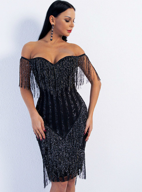 In Stock:Ship in 48 Hours Black Sheath Off the Shoulder Tassels Party Dress