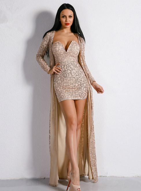 In Stock:Ship in 48 Hours Gold Sequins Two Piece Short Party Dress