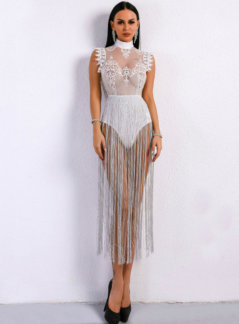 In Stock:Ship in 48 Hours White Fringed High Collar Sleeveless Lace Jumpers