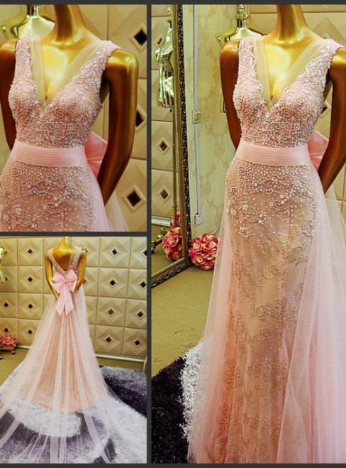 Pink Mermaid V-neck Backless Prom Dress With Beading