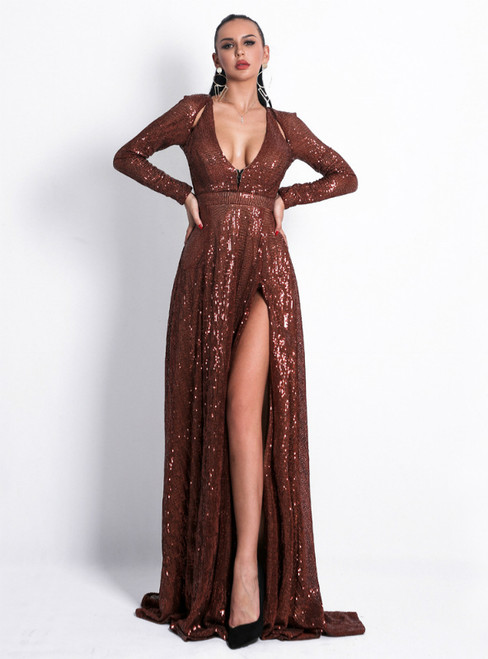 In Stock:Ship in 48 Hours Orange Sequins Long Sleeve Deep V-neck Party Dress