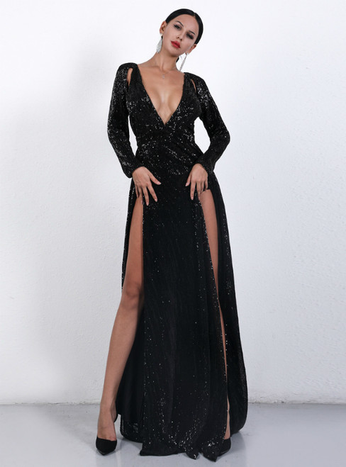 In Stock:Ship in 48 Hours Black Sequins Long Sleeve Deep V-neck Party Dress