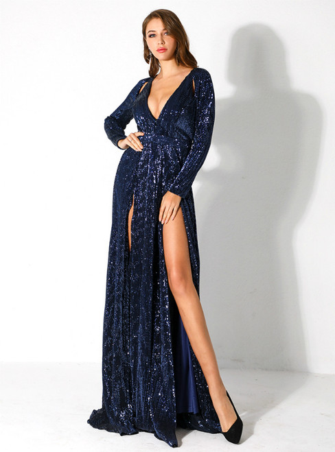 In Stock:Ship in 48 Hours Blue Sequins Long Sleeve Deep V-neck Party Dress