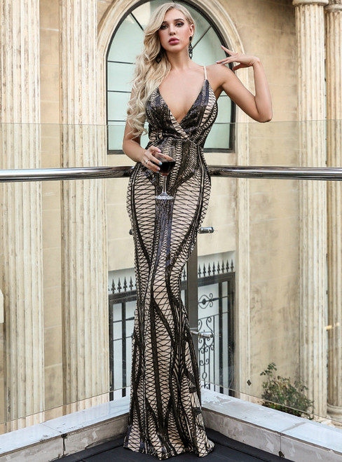 In Stock:Ship in 48 Hours Sexy Black V-neck Backless Sequins Party Dress