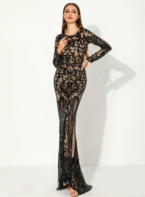 In Stock:Ship in 48 Hours Black Mermaid Sequins Long Sleeve Party Dress