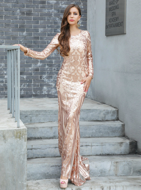In Stock:Ship in 48 Hours Pink Mermaid Sequins Long Sleeve Party Dress