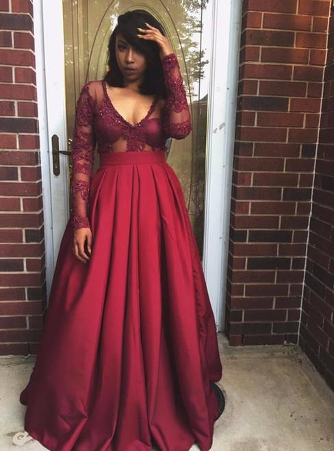 Sheer Bodice Burgundy Satin Deep V-neck Long Sleeve Evening Dress