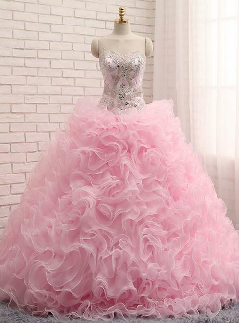 Pink Ball Gown Sweetheart Organza Ruffles Quinceanera Dresses
