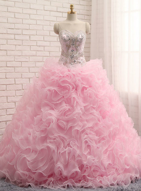 Pink Ball Gown Sweetheart Organza Ruffles Quinceanera Dresses