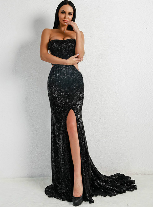 In Stock:Ship in 48 Hours Black Strapless Sequins Party Evening Dress