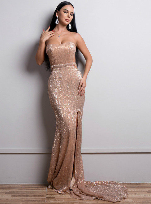 In Stock:Ship in 48 Hours Rose Gold Strapless Sequins Party Evening Dress