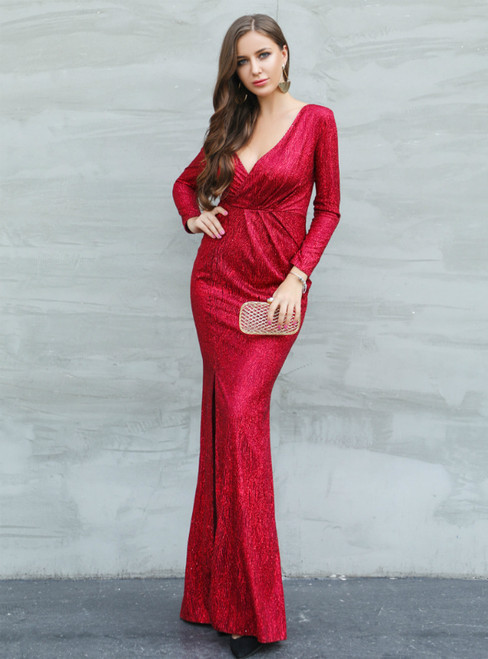 In Stock:Ship in 48 Hours Red Sequins V-neck Long Sleeve Party Dress