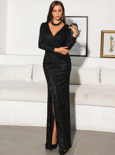 In Stock:Ship in 48 Hours Black Sequins V-neck Long Sleeve Party Dress