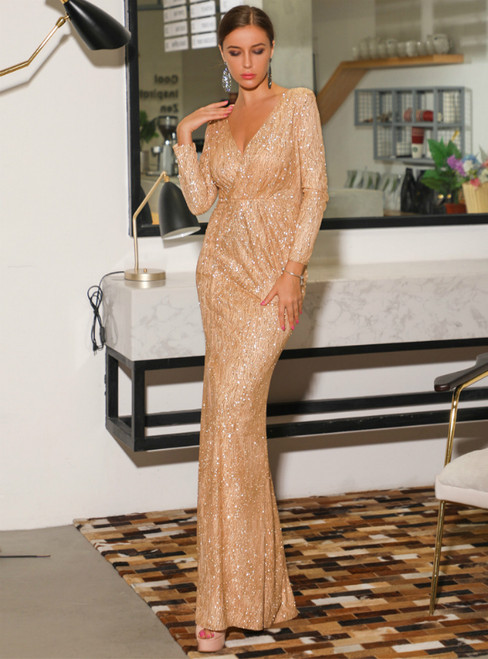 In Stock:Ship in 48 Hours Gold Sequins V-neck Long Sleeve Party Dress
