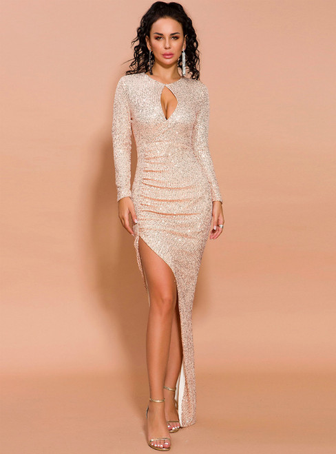 In Stock:Ship in 48 Hours Gold Sequins Long Sleeve Party Dress