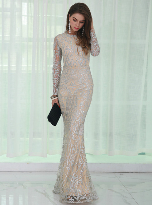 In Stock:Ship in 48 Hours Sexy Silver Sequins Long Sleeve Party Dress