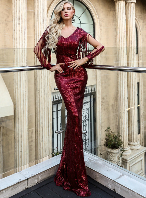 In Stock:Ship in 48 Hours Burgundy Sequins V-neck Long Sleeve Party Dress