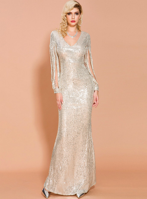 In Stock:Ship in 48 Hours Sexy Gold Sequins V-neck Long Sleeve Party Dress