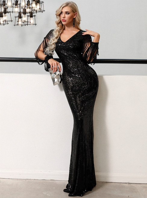 In Stock:Ship in 48 Hours Sexy Black Sequins V-neck Long Sleeve Party Dress