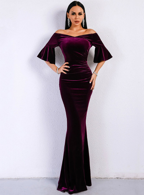 In Stock:Ship in 48 Hours Purple Memaid Velvet Horn Sleeve Party Dress