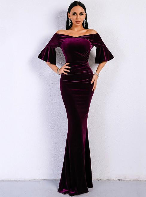 In Stock:Ship in 48 Hours Purple Memaid Velvet Horn Sleeve Party Dress