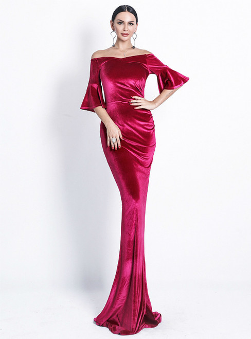 In Stock:Ship in 48 Hours Red Memaid Velvet Horn Sleeve Party Dress