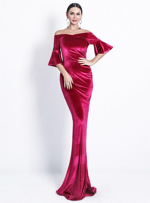 In Stock:Ship in 48 Hours Red Memaid Velvet Horn Sleeve Party Dress