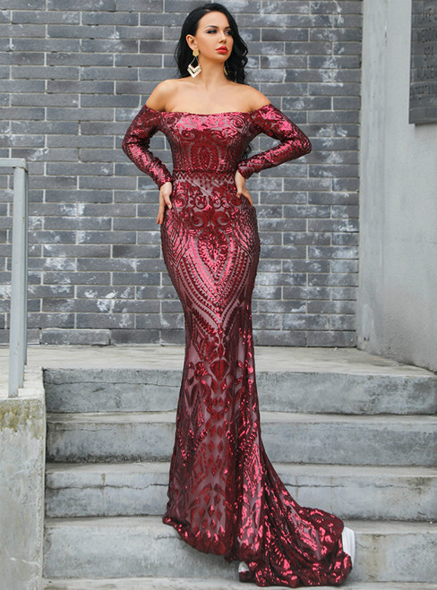 In Stock:Ship in 48 Hours Burgundy Mermaid Off the Shoulder Party Dress