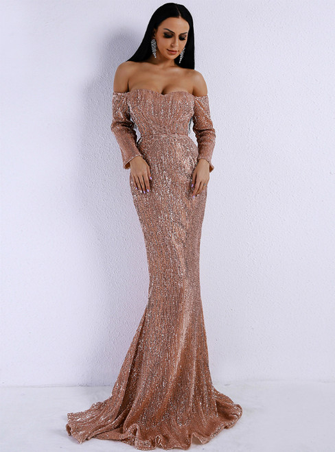 In Stock:Ship in 48 Hours Rose Gold Sequins Off the Shoulder Party Dress