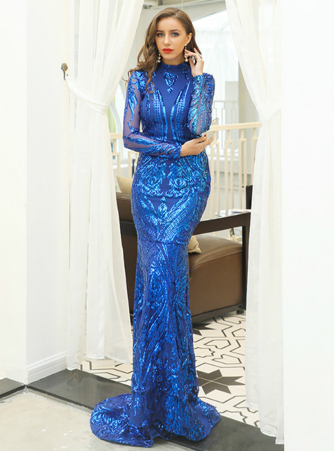 Royal Blue Mermaid Sequins High Neck Long Sleeve Party Dress