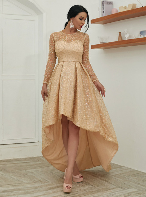 In Stock:Ship in 48 Hours Gold Sequins Hi Lo Long Sleeve Party Dress