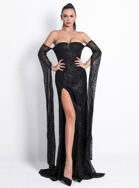 In Stock:Ship in 48 Hours A-Line Black Sequins Off the Shoulder Party Dress