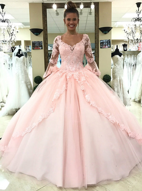 Pink Ball Gown Lace Tulle Long Sleeves Backless Quinceanera Dress