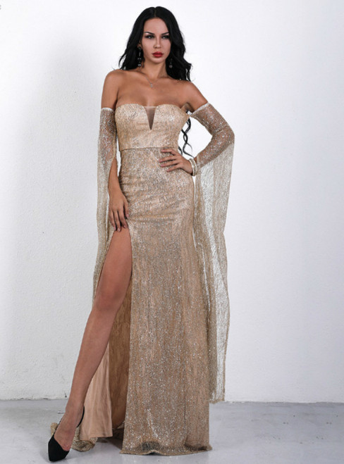 In Stock:Ship in 48 Hours A-Line Gold Sequins Off the Shoulder Party Dress