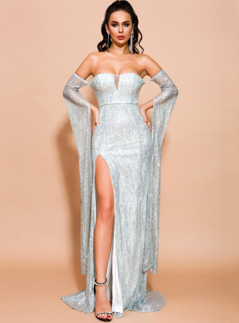 In Stock:Ship in 48 Hours A-Line Silver Sequins Off the Shoulder Party Dress