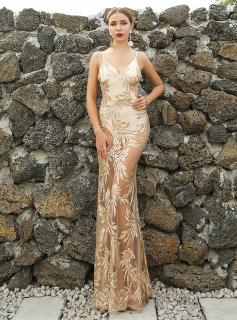 In Stock:Ship in 48 Hours Sexy Gold Sequins Backless Party Dress