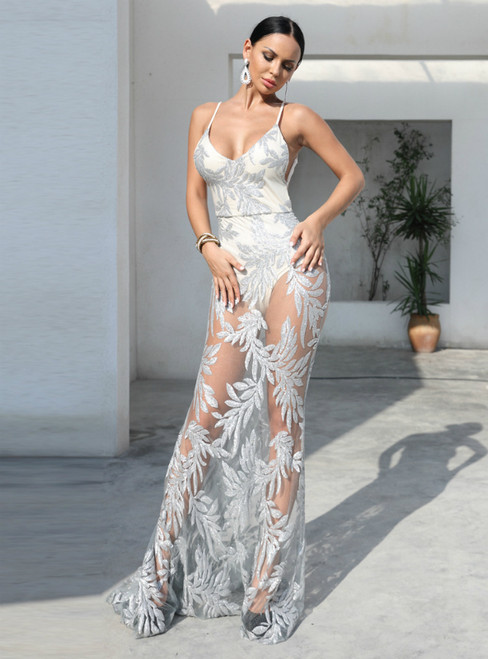 In Stock:Ship in 48 Hours Sexy Silver Sequins Backless Party Dress