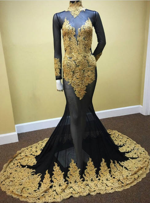 Cheap prom dresses 2017 Long Sleeves Black Mermaid Prom Dress with Gold Appliques