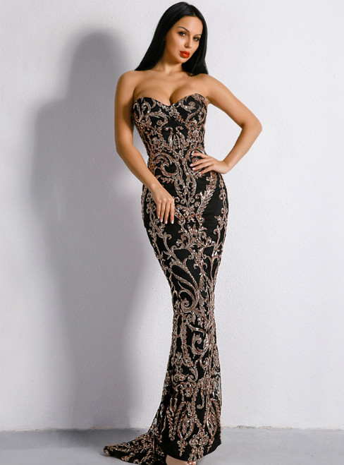 In Stock:Ship in 48 Hours Black Gold Sequins Sweetheart Party Dress