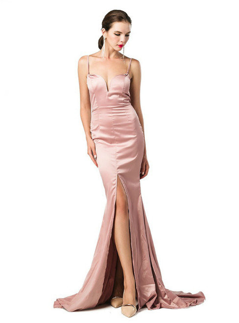 In Stock:Ship in 48 Hours Pink Satin Spaghetti Straps Party Dress