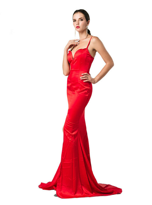 In Stock:Ship in 48 Hours Red Satin Spaghetti Straps Party Dress