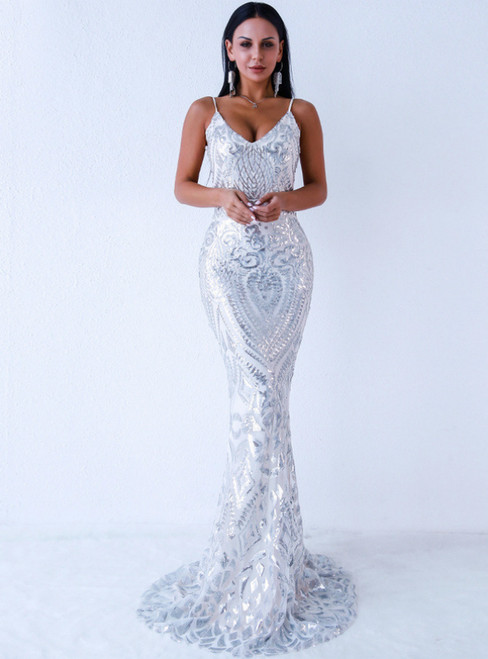 In Stock:Ship in 48 Hours Sexy Silver Sequins Open Back Party Dress