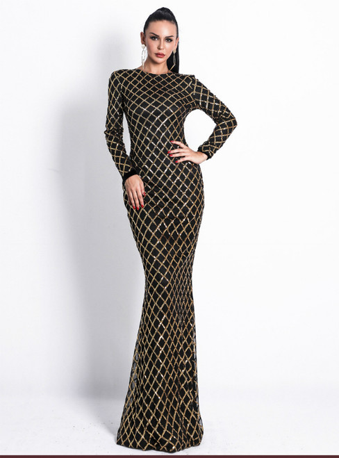 In Stock:Ship in 48 Hours Black Sequins Long Sleeve Lattice Party Dress