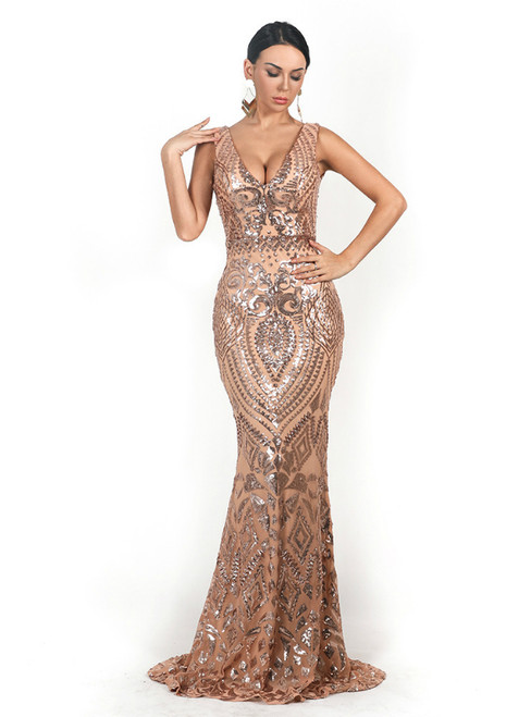 In Stock:Ship in 48 Hours Gold Mermaid Sequins V-neck Party Dress