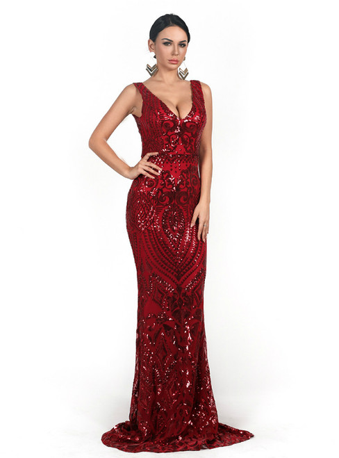 In Stock:Ship in 48 Hours Red Mermaid Sequins V-neck Party Dress