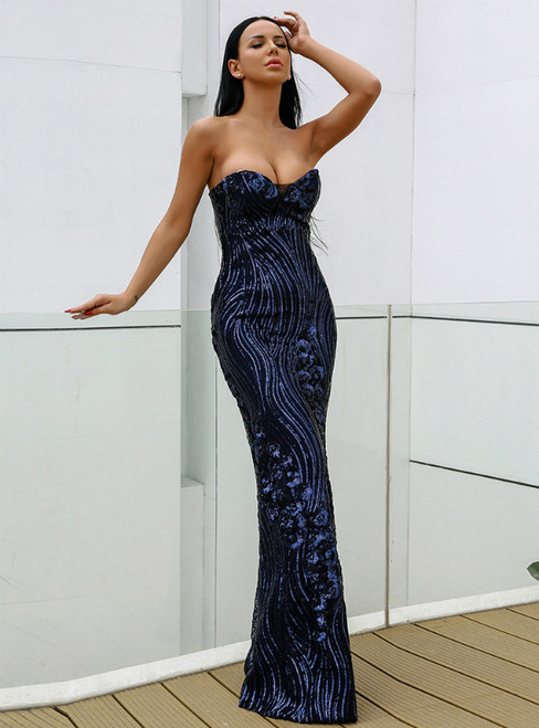In Stock:Ship in 48 Hours Blue Mermaid Sweetheart Party Dress