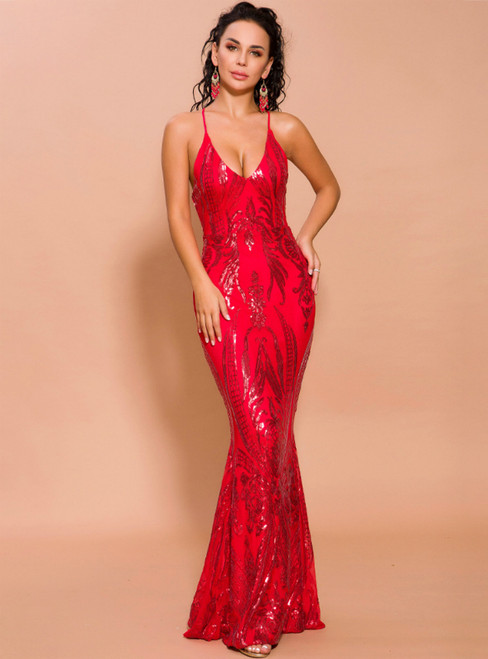 In Stock:Ship in 48 Hours Red Sequins Deep V-neck Party Dress