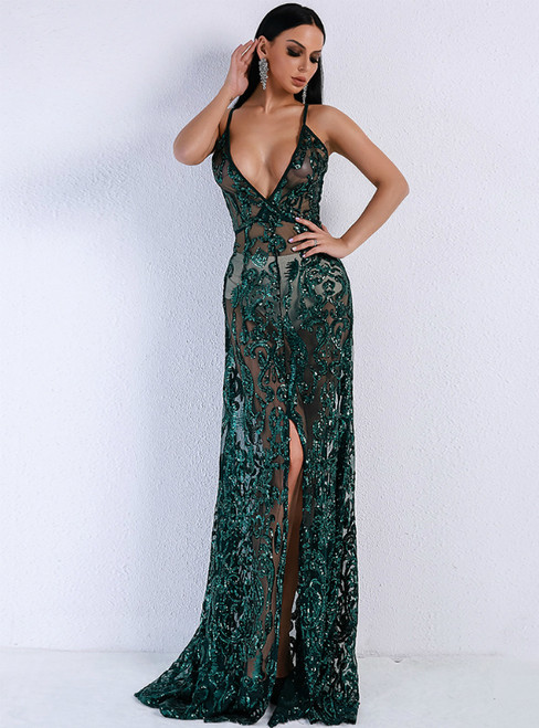In Stock:Ship in 48 Hours Green See Through Sequins Party Dress